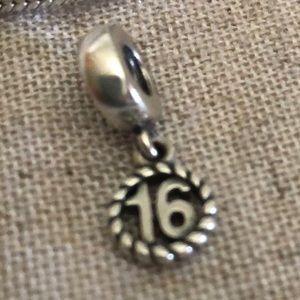 "PANDORA ""16"" Sterling Silver Charm"